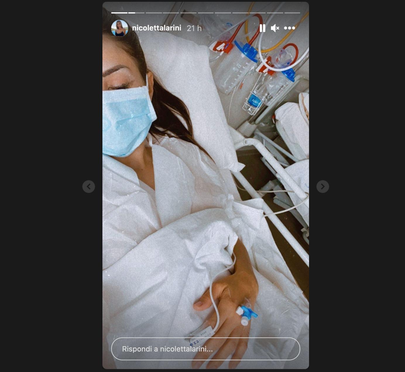 nicoletta larini ricovero ospedale instagram